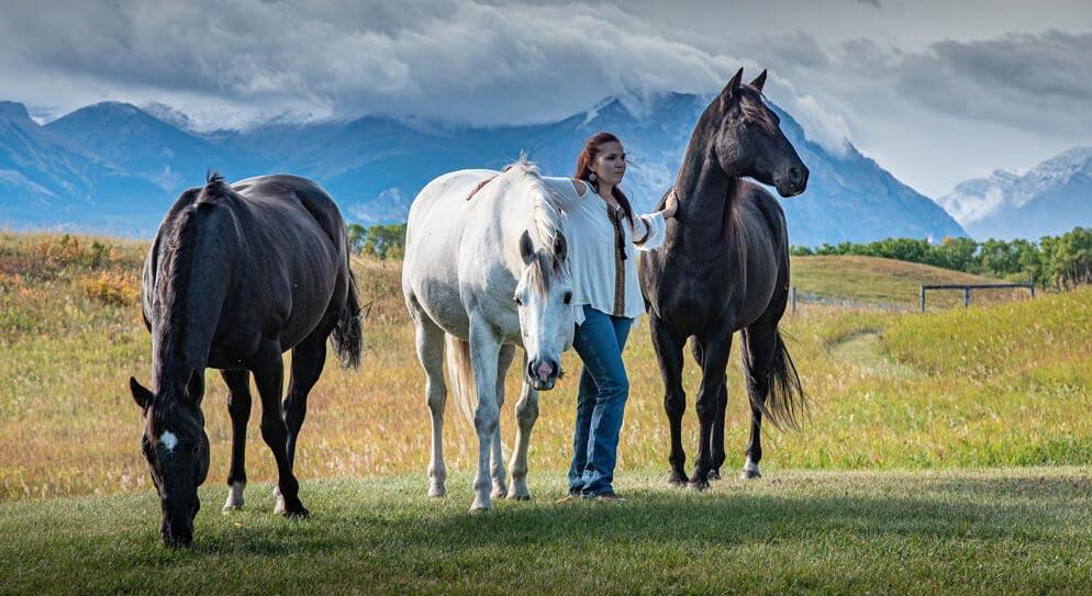 Kim with three horses